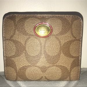 Coach Signature Wallet Brown Tan Red Bi-Fold Snap